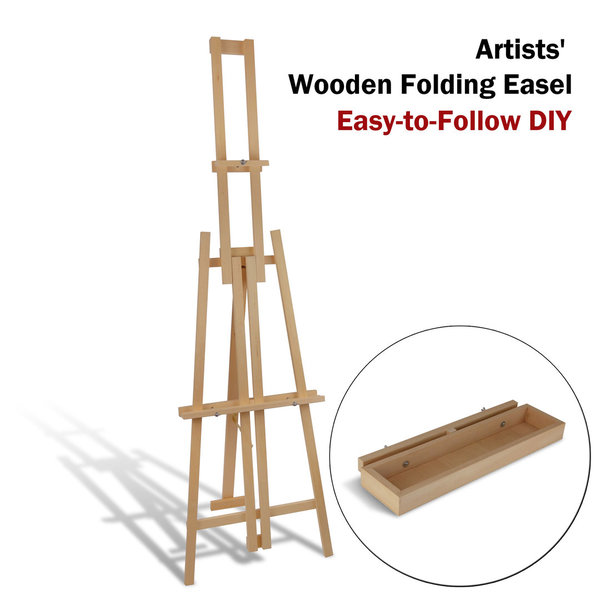 Wooden Easel, Folding Style, Floor-standing and Table-top positions, Easy DIY - Easel+Tray