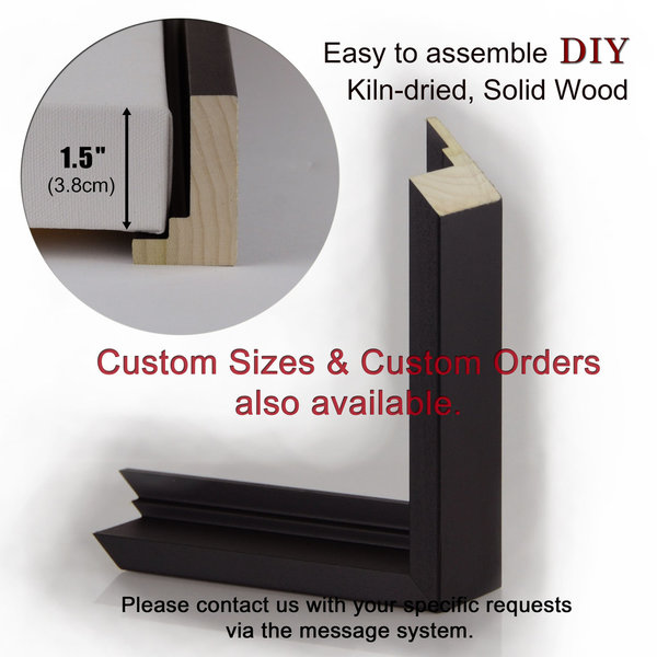 "Floater Picture Frame / Matte Black, H2"" for 1.5"" Canvas : Floating Display, DIY – Custom Sizes"